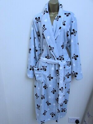 George Disney Mickey Mouse Ladies Blue Fleece Dressing Gown Size 16 - 18 Large • 6.50£