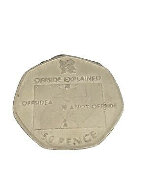 Olympic Football Offside Rule 50p Coin ( Circulated) • 9.78£