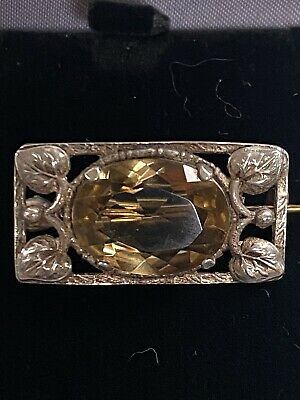 Bernard Instone Edwardian Silver Citrine Arts & Crafts Pin Brooch • 22.99£