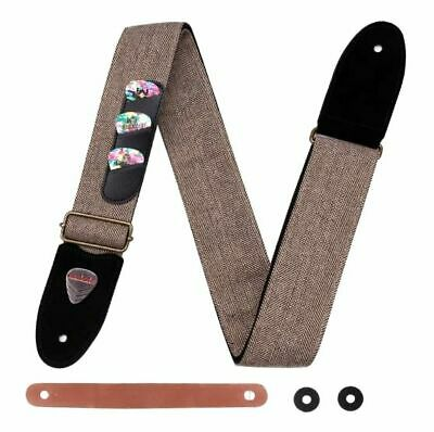 $ CDN31.57 • Buy Guitar Strap Soft Cotton Genuine Leather Ends Strap