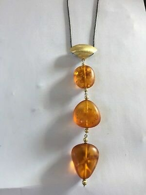 Natural Baltic Amber Satin Finish Drop Pendant Sterling Sil/gold Plated No Chain • 28£