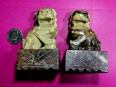 Antique Chinese Jade Marble Soapstone Foo Temple Dogs Lions - Lovely • 235£