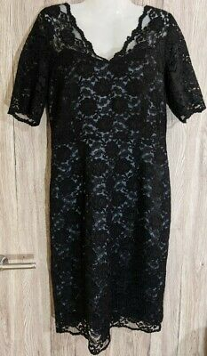 Kaliko Black Lace Pencil Straight Wiggle Knee Length Short Sleeve Dress Size 12 • 12.50£