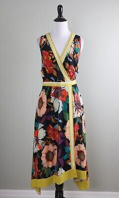 $ CDN76.40 • Buy ANTHROPOLOGIE NWT $158 Maeve Vibrant Floral Print Faux Wrap Dress Size 10
