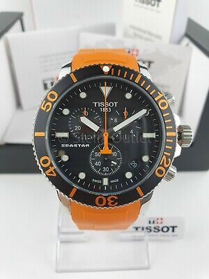 Tissot Seastar 1000 Chronograph T120.417.17.051.01 Rubber Orange Dial Watch • 255£