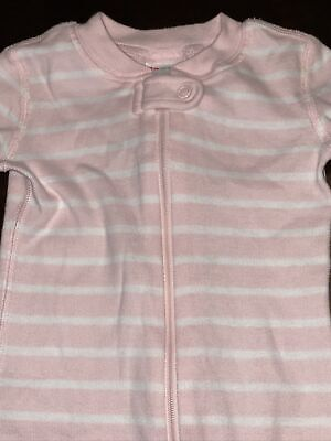 $9.99 • Buy Hanna Andersson Girls Size 80, 18-24 Months 1 Piece Pajamas Pink, White Striped