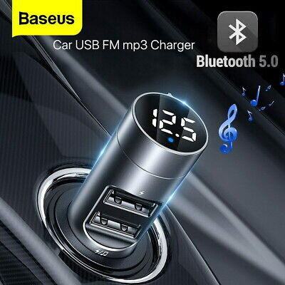Baseus FM Transmitter Wireless Bluetooth 5.0 Car Kit MP3 Player Dual USB Charger • 11.79£