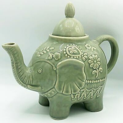 Elephant Teapot Pale Green Floral Embossed Design • 21.91£