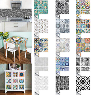 Mosaic Tile Stickers Self Adhesive Kitchen Bathroom Moroccan Wall Sticker Decals • 11.28£