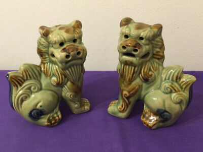 Vintage Matching Pair Chinese Foo Dog Statue Figure Ornaments • 9.50£