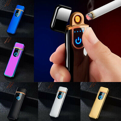 Electric Touch Switch Lighter USB Rechargeable Metal Cigarette Lighter UK • 6.99£