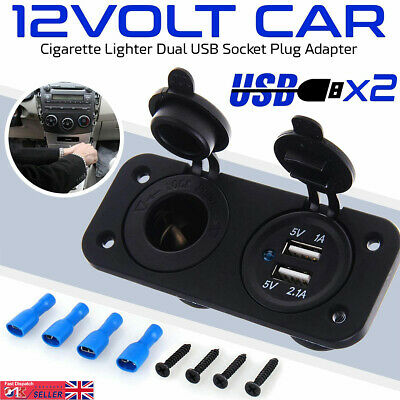 UK Universal Car Cigar Charger Lighter Socket Adapter Plug Dual Dual USB Port • 9.88£