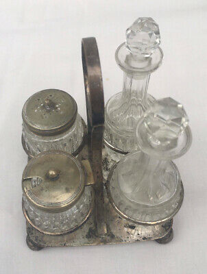 Antique Or Vintage Condiment Cruet Set, Silver Plated Handled Stand • 14.99£