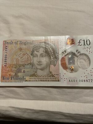 Rare JANE AUSTEN Polymer Ten Pound Note AA 01 Serial No.£10 Very Low Number • 19£