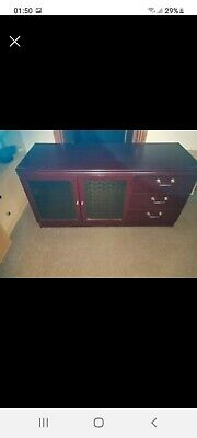Mahogany Cabinet Cupboard With Glass Doors And Drawers TV Unit  • 20£