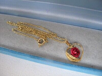 New Unworn Vintage 9ct GOLD Plated ROSE Filigree Love Heart Chain Necklace 2.6g£ • 1.20£