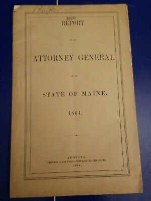 $35 • Buy 1864 State Of Maine ATTORNEY GENERAL Report Murder Law & Other Business Trials