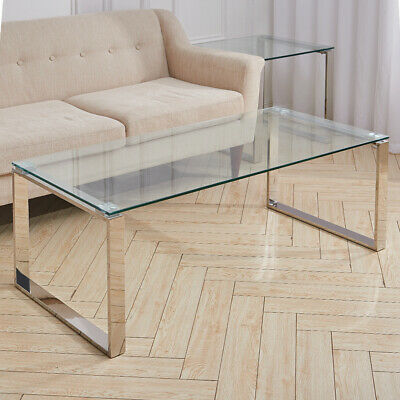 Tempered Glass Coffee Table Stainless Steel Chrome Legs Living Room Furniture • 95.95£
