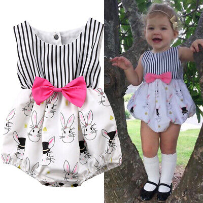 Easter Newborn Baby Girl Bunny Romper Bodysuit Jumpsuit Playsuit Outfits Clothes • 9.99£
