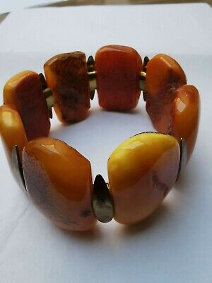 Rear Amber Butterscotch Women's Wrist Band Bracelet Polished Natural 76.6gram • 0.99£