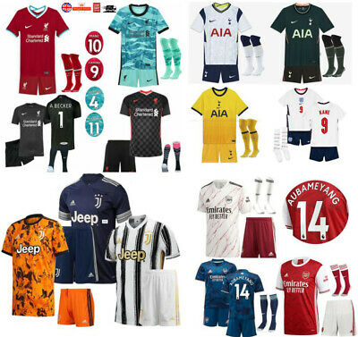 20/21 Kids Football Kits Soccer Training Jersey Team Suits Strip Uniforms +Socks • 19.99£