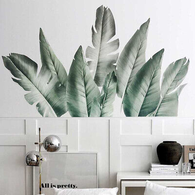Tropical Green Plant Leaf Wall Stickers Home Bedroom Decoration DIY Art Decal Us • 6.99£
