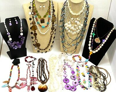 $ CDN19.28 • Buy 26pc HIGH END FAIR Lot Bracelet Necklaces Seashell Mother Of Pearl Signed #JA118