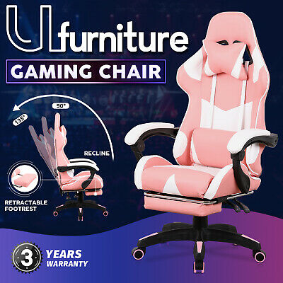 AU139.90 • Buy Gaming Chair Executive Office Computer Racer Recliner Chairs W/Footrest Pink