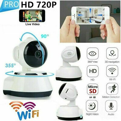 720P WiFi IP Security Camera Monitor Wireless Indoor CCTV System Home Baby Pet • 19.99£