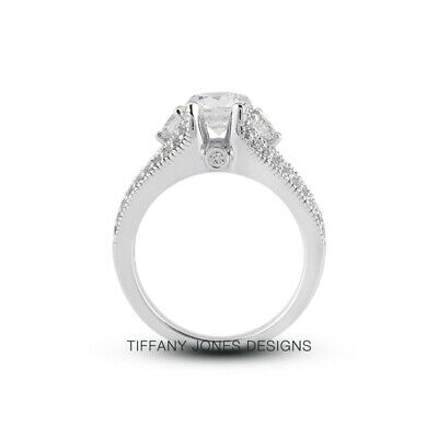 AU3608.52 • Buy 1 1/4 CT F VS2 Round Cut Natural Certified Diamonds 950 PL. Side-Stone Ring