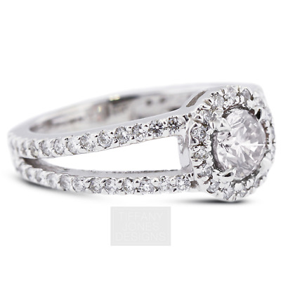 AU3785.98 • Buy 1 3/4ct F SI1 Round Earth Mined Certified Diamonds 950 PL. Halo Side-Stone Ring