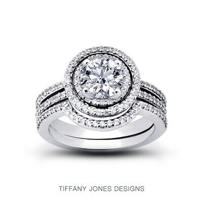 AU4392.33 • Buy 1 1/4ct F SI1 Round Natural Certified Diamonds Plat Halo Ring With Wedding Band