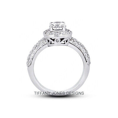 AU3682.46 • Buy 1.31 CT G-SI1 Round Cut Natural Certified Diamonds 950 PL. Halo Side-Stone Ring