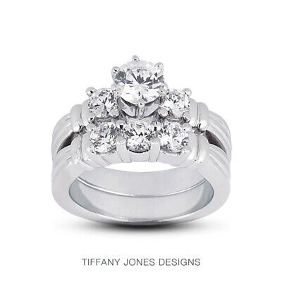AU4200.08 • Buy 1ct H SI1 Round Natural Diamonds Plat Vintage Style Ring With Wedding Band