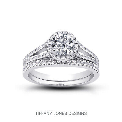 AU4288.81 • Buy 1.60ct E-SI3 Round Natural Certified Diamonds Plat Halo Ring With Matching Band