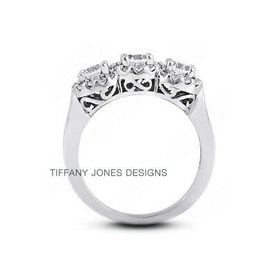 AU3593.73 • Buy 1.12 CT E-SI1 Round Cut Natural Certified Diamonds 950 PL. Halo Three-Stone Ring
