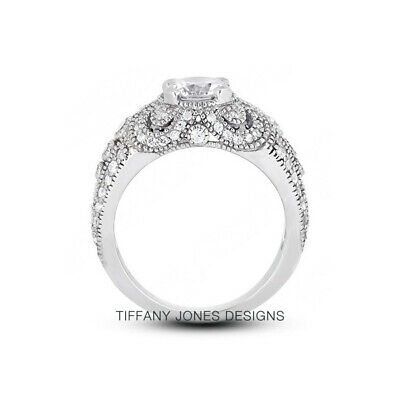 AU3593.73 • Buy 1ct E VS2 Round Natural Certified Diamonds 950 PL. Vintage Style Side-Stone Ring
