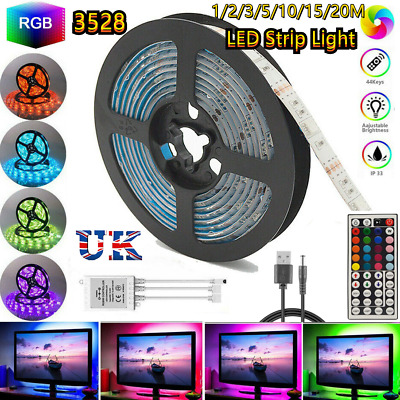 1~20M LED Strip Lights Party Decor RGB TV Lighting Colour Changing Tape Cabinet • 11.99£