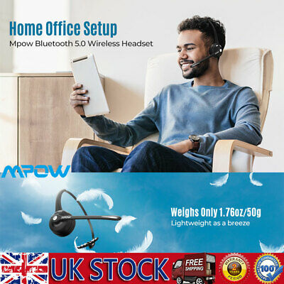 Bluetooth Headphones Mpow Stereo Headset Mic Light Weight For PC Laptop Skype UK • 19.99£