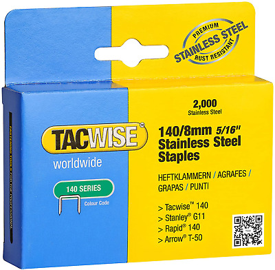 Tacwise 140/8mm Stainless Steel Staples Box Of 2000 • 14.13£