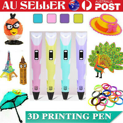 AU20.99 • Buy 3D Printing Pen Crafting Drawing Art Printer PLA ABS LCD Screen Free Filaments