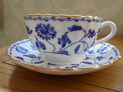 Spode Blue Colonel Tea Cup And Saucer With Gold Rim • 5.99£