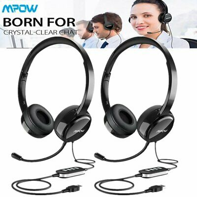 2X Mpow USB 3.5mm Wired Computer Headset Headphones For Skype PC Laptop Calling • 39.99£