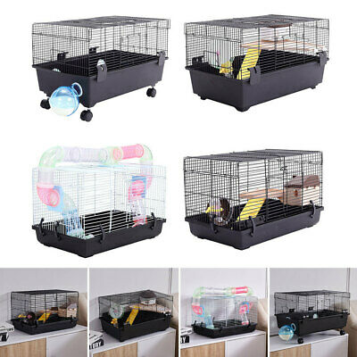 Hamster Cage Carrier Habitat Small Animal House Exercise Ladder Wheels Tunnel IN • 32.95£