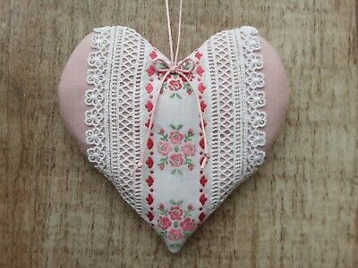 2nd Cotton 13th Wedding Anniversary Embroidered Lace Pink Heart Handmade Gift • 12.99£