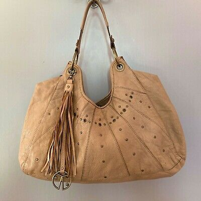 Coccinelle Camel Brown Leather Hobo Bag Tassel Logo Charm Large Handbag • 5£