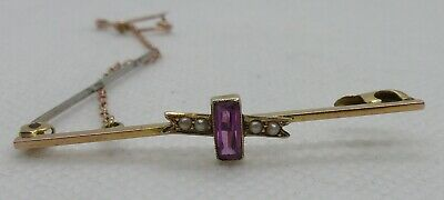 Very Pretty Edwardian 9ct Gold Brooch With Safety Chain • 25£