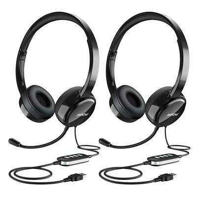 2Pcs Mpow 071 USB/3.5mm Computer Headset Headphones For Skype Call Center Laptop • 39.99£