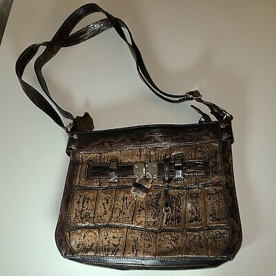 $22.95 • Buy M.C Handbag Croco Embossed Brown Faux Patent Leather Purse. EUC.  Pre-owned