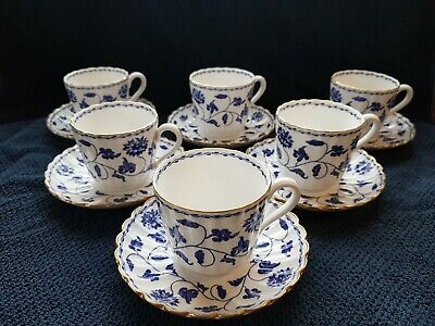 A Set Of Six Spode Blue Colonel Fine Bone China Cup And Saucer • 89£
